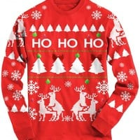 Ho Ho Ho Christmas Tree Long Sleeve Shirt | CrazyDog Tshirts