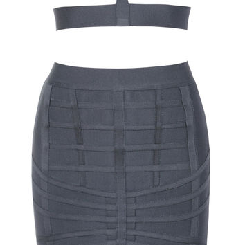 Clothing : 2 Pieces : 'Kaede' Charcoal Grey Banded Bandage Two Piece Set