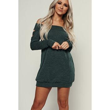 Today's Mood Off The Shoulder Tunic (Hunter Green)