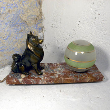 French vintage dog mood lamp. French desk lamp. French table lamp. French mood lamp. Dog lamp. marble desk lamp. Green glass lamp shade
