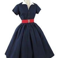 50s Navy Blue Shirtwaist Style Full Skirt Day Dress #nauticaldress #vintagedress #navydress #50sdress #bluevelvetvintage