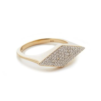 Stretched Diamond Signet Ring