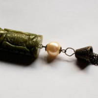 asian culture culture green jade pearl tassle tassel long necklace carved stone stone rare stone precious stone christmasinjuly from misanthropy creations