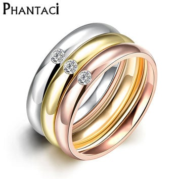 3 PCS/Set Zircon 316L Stainless Steel Wedding Rings For Women Gold Plated Crystal Titanium Engagement Finger Rings Female 2016