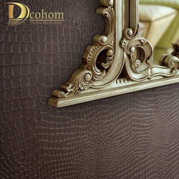 Alligator Pattern PVC & vinyl wallpaper three-dimensional photo wall paper roll wall modern wallpaper for background art R324