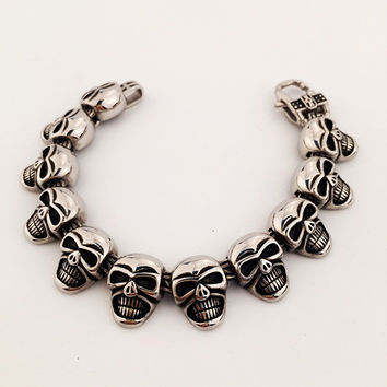 Jewelry New Arrival Stylish Shiny Gift Skull Bracelet Hip-hop Club Necklace [8439433283]