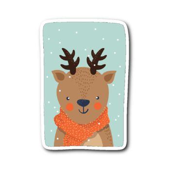 Adorable Animals in Winter Clothes - Reindeer Sticker
