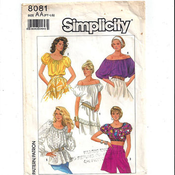Simplicity 8081 Pattern for Misses' Top in 3 Lengths, Peasant, Off Shoulder, Midriff, Easy to Sew, Size Petite, From 1987, Vintage Pattern