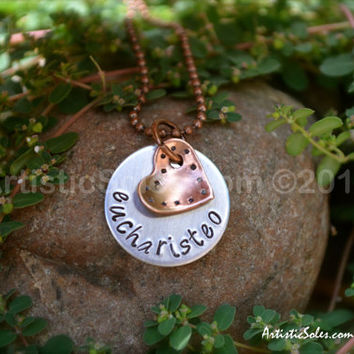Tiny Heart, Custom Metal Stamped Eucharisteo Necklace by Artistic Soles