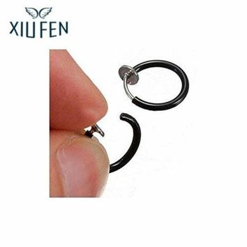 ac PEAPO2Q XIUFEN 2pcs Fake Spring Action Non Piercing Nose Septum Ear Cartilage Lips Ring Unisex black