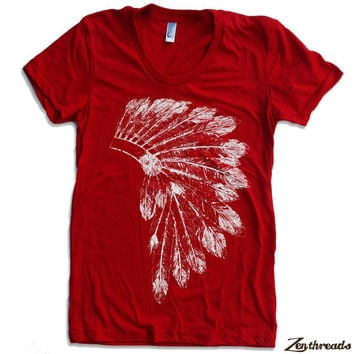Womens Native American HEADDRESS american apparel T Shirt S M L XL (16 Colors Available)