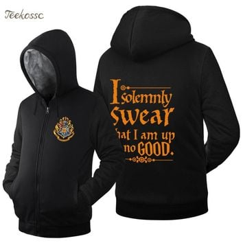 I Solemnly Swear- That I Am Up To No Good  Sweatshirts Hoodie Funny Men Sweatshirt Winter Warm Fleece Hoodies Movie Black Coat