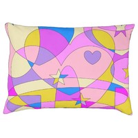 Retro Colorful Abstract Large Dog Bed
