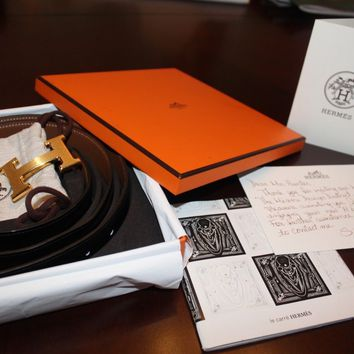 Authentic 100cm Hermes Belt and Reversible Black/Gold Leather (with Receipt!)