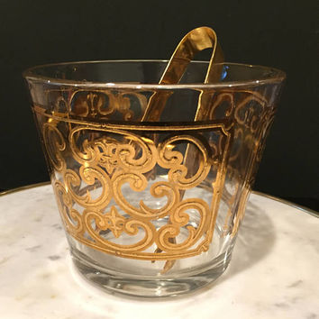 Georges Briard Spanish Gold Ice Bucket with Gold Ice Tongs | Mid Century Barware | Hollywood Regency Style Barware| Bar Cart Accessories