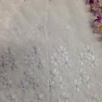 "54"" Double Bordered on Daisy Embroidered Organza with Mini Silver Sequins, 2 Yard Lot, Fluorescent White"