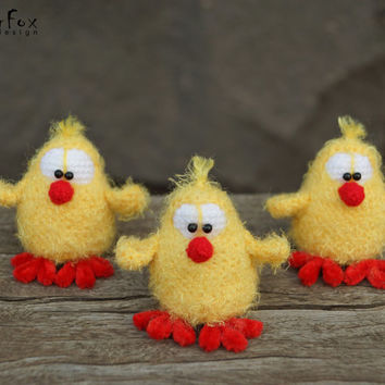 Easter Chicks, crochet chickens, fuzzy stuffed chichs, Easter decor, spring decor, Easter gift