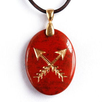 Crossed Arrows Necklace - Native American Symbol of Friendship - Engraved Stone Pendant