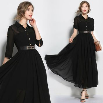 Chiffon Autumn Sexy Black Slim Prom Dress [288440549417]