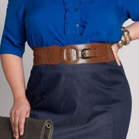 Plus Size Round Buckle Belt in Caramel by IGIGI