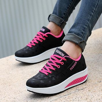Women casual shoes 2018 New Arrival Breathable fashion waterproof wedges platform sneakers creepers shoes Fast delivery