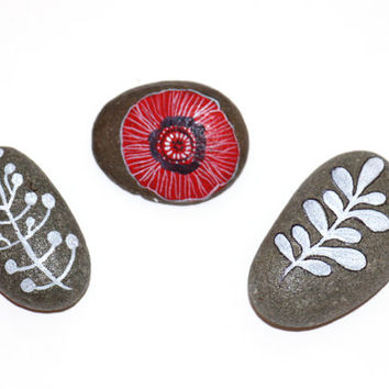Painted Rocks-Room Decor-Painted river pebble- grey- red poppy- white leaves-floral-gift-interior-napkin holder-meditational rocks