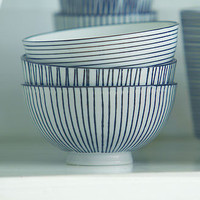 SET OF 3 STRIPED BLACK AND WHITE BOWLS