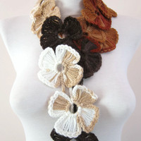 Lariat,Flower Crochet Lariat Scarf,Brown,Scarf,Crochet Necklace
