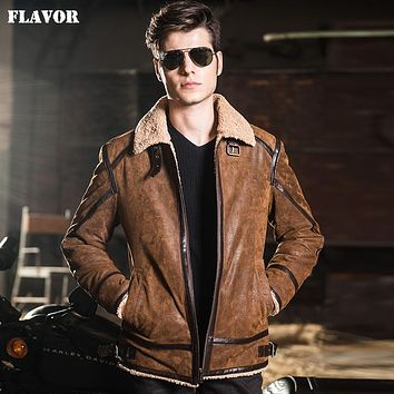 Men's real leather jacket double face fur motorcycle Genuine Leather jacket men leather coat