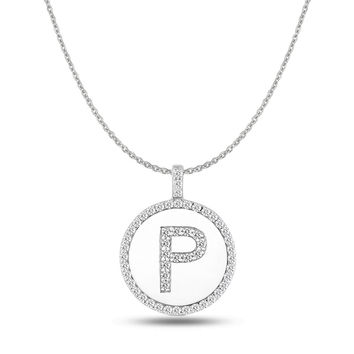 """P"" Diamond Initial 14K White Gold Disk Pendant (0.55ct)"