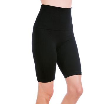 Homma Women's Tummy Control Fitness Workout Running Yoga Shorts (Large, Black)