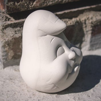 "Small Ghost Head 3.5"" Ready to Paint Ceramic Bisque"