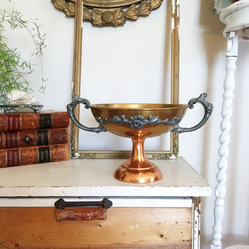 Vintage Art Nouveau Copper Brass and Silver Trophy Style Urn with Floral Motif for Home Decor or Prop Display