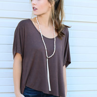 Afternoon Drive Brown Dolman Top With Back Cutouts