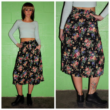 Vintage 80s High Waisted Pants, Gaucho Black Floral Pants