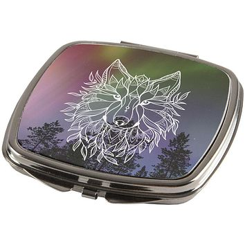 Wolf Northern Lights Night Line Art Compact