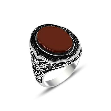 Mens 925 sterling silver ring with agate gemstone