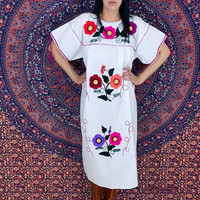 Vintage 70s White Mexican Cotton Hand Embroidered Flower Oaxacan Peasant Dress w/ Tassels One Size Fits Most (M // L // XL)