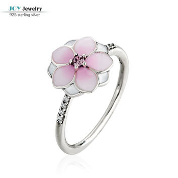 2017 Spring Pale Cerise Enamel & Pink CZ Magnolia Bloom Ring 925 Sterling Silver Flower Engagement Jewelry Rings For Women Girls
