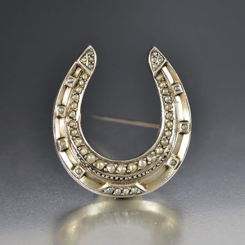 Antique Large Silver Pearl Horseshoe Brooch Pin