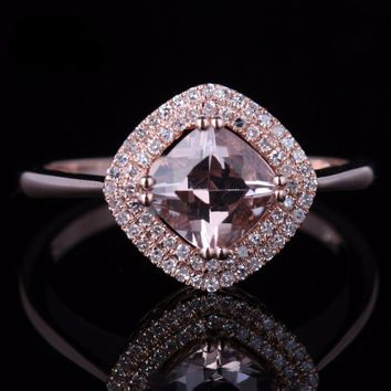 Morganite Ring, 10k, Rose Gold, with Natural Diamonds, Fine Women's Jewelry
