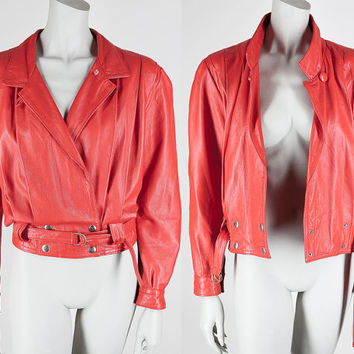Vintage 80s Jacket / 1980s Avant Garde Cherry Red Leather Draped Oversized Jacket M L