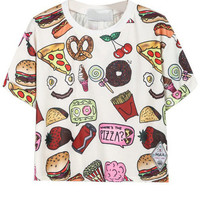 Food Print Short Sleeve Casual Crop Top