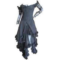 Alexander McQueen F' 2002 Dramatic Black Dress