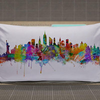 New York Skyline Art rectangle pillow case, pillow cover, cute and awesome rectangle pillow covers
