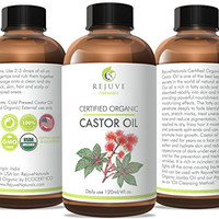 RejuveNaturals Certified Organic Castor Oil, 4 oz