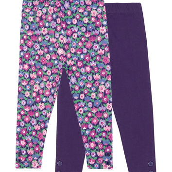 JoJo Maman Bébé 2-Pack Floral Leggings - Purple -