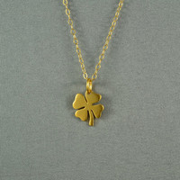 Four Leaf Lucky Clover Necklace, 24K Gold Vermeil, 14K Gold Filled Chain, Modern, Simple, Pretty, also in Sterling Silver