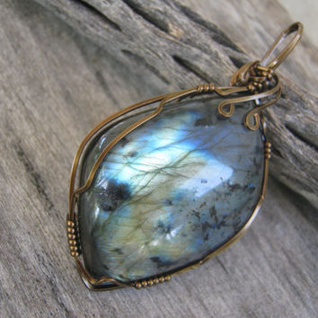 Golden Blue Labradorite Pendant, Wire Wrapped in Antique Brass