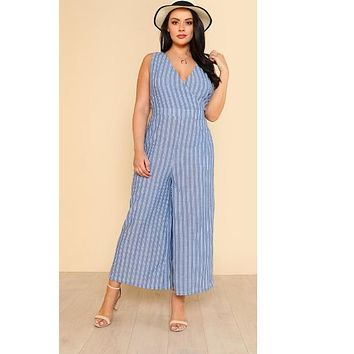Wrap Front Striped Palazzo Jumpsuit